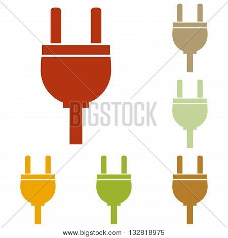 Socket sign illustration. Colorful autumn set of icons.