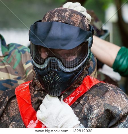 Girl In Face Shield Before Playing Paintball