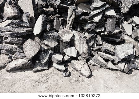 Pile Of Asphalt Blocks Removed From The Road