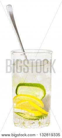 Glass Tumbler With Spoon And Cold Lemonade