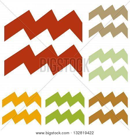 Aquarius sign illustration. Colorful autumn set of icons.