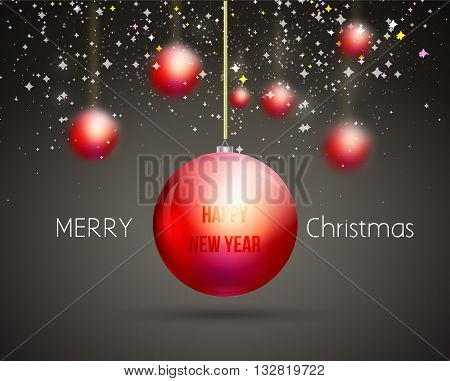 Merry Christmas Happy New Year trendy red gold xmas ball shape. Ideal for xmas card or elegant holiday party invitation.