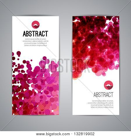 Set of Vector Poster Banners Templates with Dots Watercolor simulation Paint Splash. Abstract Background for Business Documents, Flyers and Placards