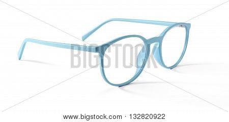azure spectacles eyeglasses isolated on white background