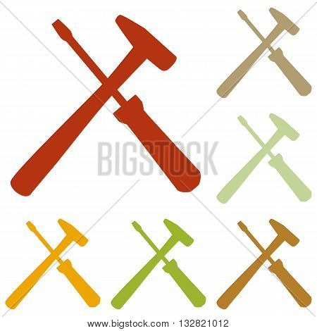 Tools sign illustration. Colorful autumn set of icons.