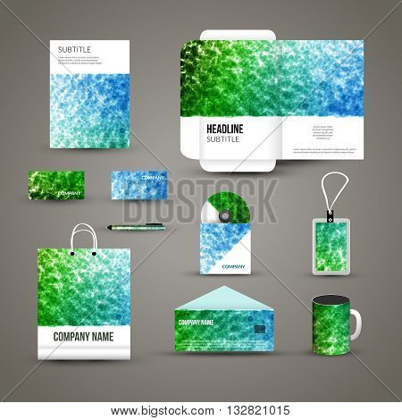 Corporate identity template with dotted background. Vector company dots style for brandbook and guideline, pen, cd disc, cup, letter, flag, business cards