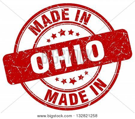 made in Ohio red round vintage stamp.Ohio stamp.Ohio seal.Ohio tag.Ohio.Ohio sign.Ohio.Ohio label.stamp.made.in.made in.