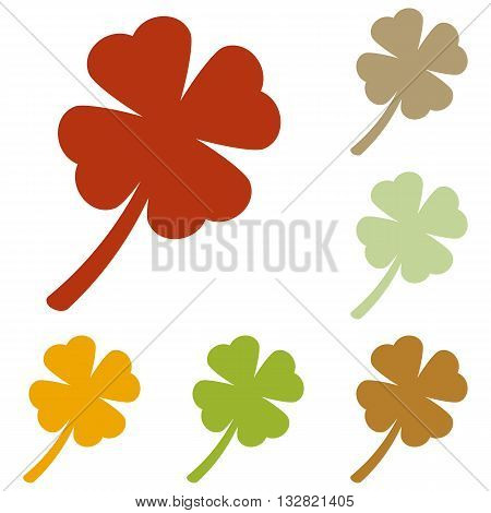 Leaf clover sign. Colorful autumn set of icons.