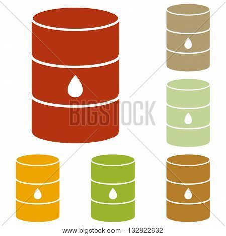Oil barrel sign. Colorful autumn set of icons.