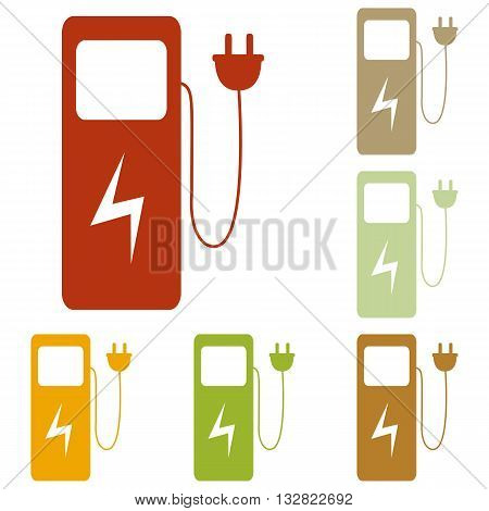 Electric car charging station sign. Colorful autumn set of icons.
