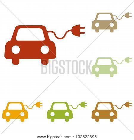 Eco electric car sign. Colorful autumn set of icons.