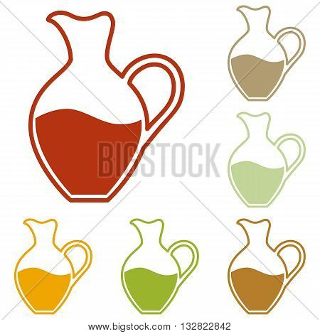 Amphora sign. Colorful autumn set of icons.