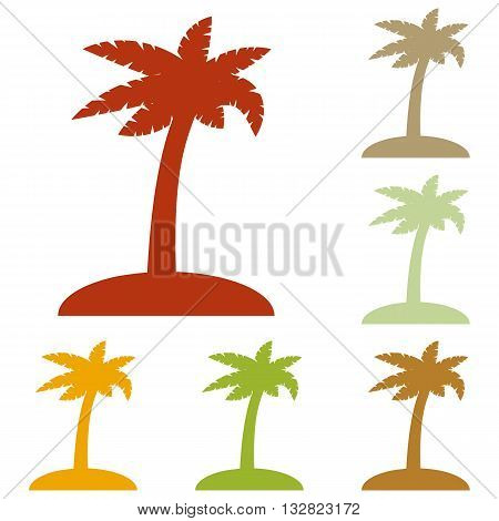 Coconut palm tree sign. Colorful autumn set of icons.