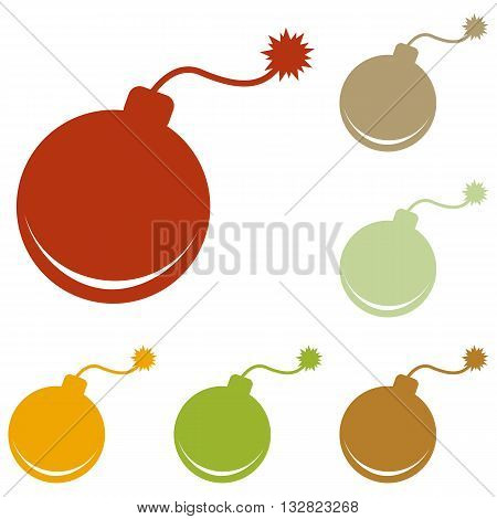 Bomb sign illustration. Colorful autumn set of icons.