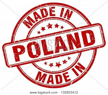 made in Poland red round vintage stamp.Poland stamp.Poland seal.Poland tag.Poland.Poland sign.Poland.Poland label.stamp.made.in.made in.