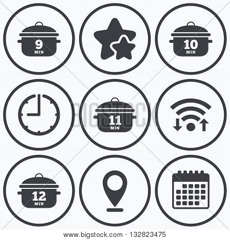 Clock, wifi and stars icons. Cooking pan icons. Boil 9, 10, 11 and 12 minutes signs. Stew food symbol. Calendar symbol.