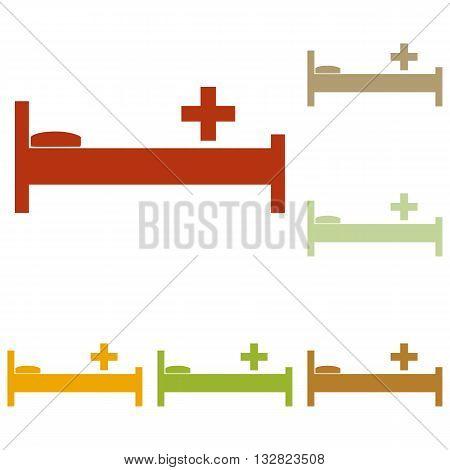 Hospital sign illustration. Colorful autumn set of icons.