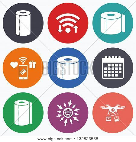 Wifi, mobile payments and drones icons. Toilet paper icons. Kitchen roll towel symbols. WC paper signs. Calendar symbol.