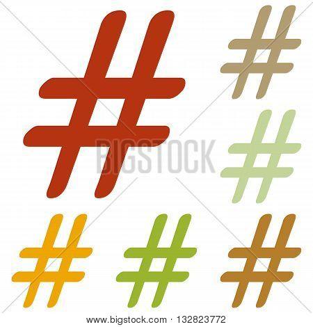 Hashtag sign illustration. Colorful autumn set of icons.
