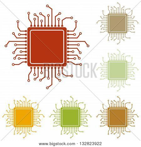 CPU Microprocessor illustration. Colorful autumn set of icons.