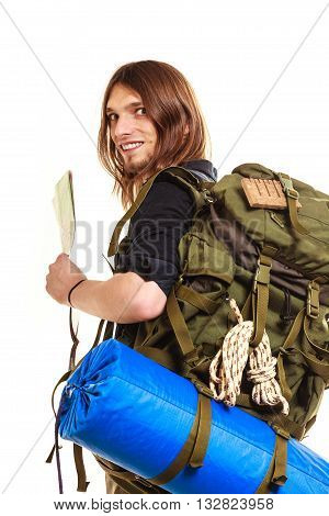 Man tourist backpacker holding map. Young guy hiker backpacking. Summer vacation travel. Isolated on white background.