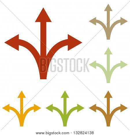 Three-way direction arrow sign. Colorful autumn set of icons.