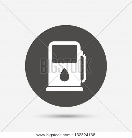 Petrol or Gas station sign icon. Car fuel symbol. Gray circle button with icon. Vector