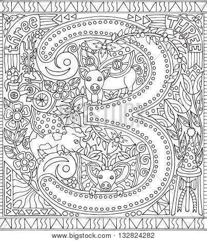 Adult Coloring Book Poster Number 3 Three Black and White Vector Illustration Alphabet Letter Wall Art