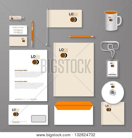 Abstract empty corporate identity template. Vector company style for brandbook and guideline.