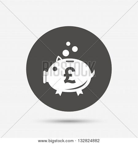 Piggy bank sign icon. Moneybox pound symbol. Gray circle button with icon. Vector