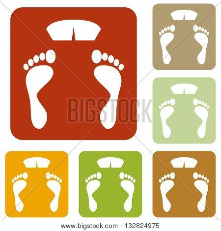 Bathroom scale sign. Colorful autumn set of icons.