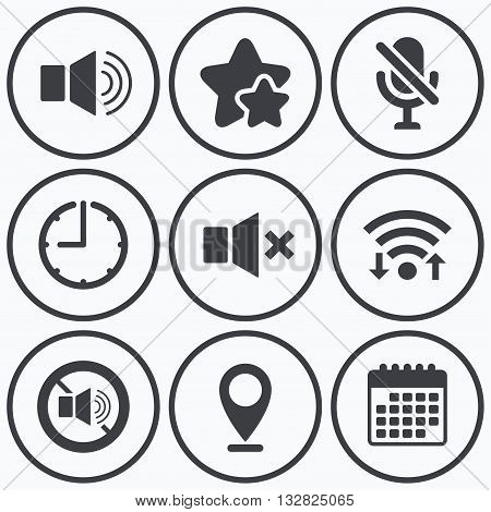 Clock, wifi and stars icons. Player control icons. Sound, microphone and mute speaker signs. No sound symbol. Calendar symbol.