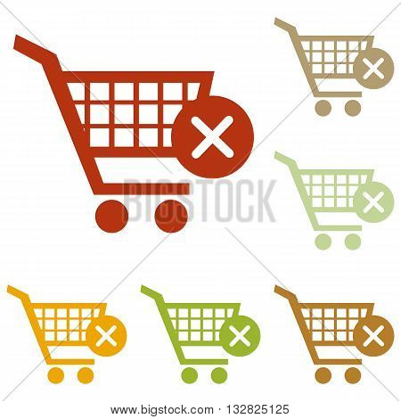 Shopping Cart with delete sign. Colorful autumn set of icons.
