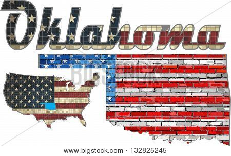 USA state of Oklahoma on a brick wall - Illustration, The flag of the state of Oklahoma on brick textured background,  Font with the United States flag,  Oklahoma map on a brick wall