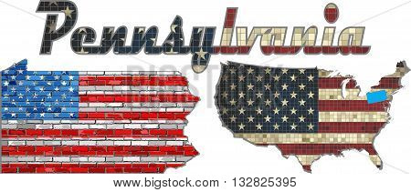 USA state of Pennsylvania on a brick wall - Illustration, The flag of the state of Pennsylvania on brick textured background,  Font with the United States flag,  Pennsylvania map on a brick wall