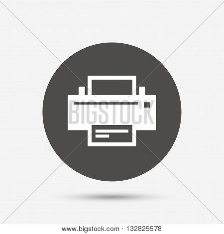 Print sign icon. Printing symbol. Print button. Gray circle button with icon. Vector