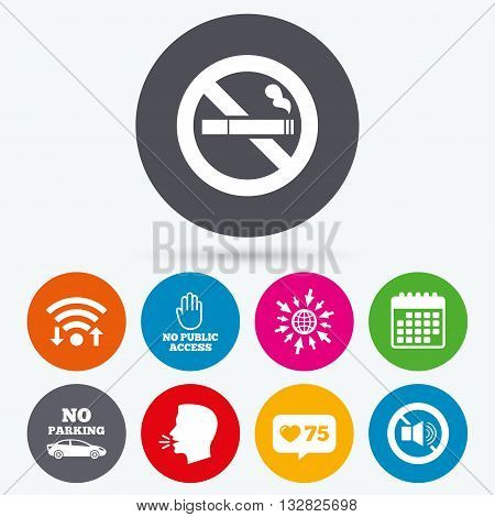Wifi, like counter and calendar icons. Stop smoking and no sound signs. Private territory parking or public access. Cigarette and hand symbol. Human talk, go to web.