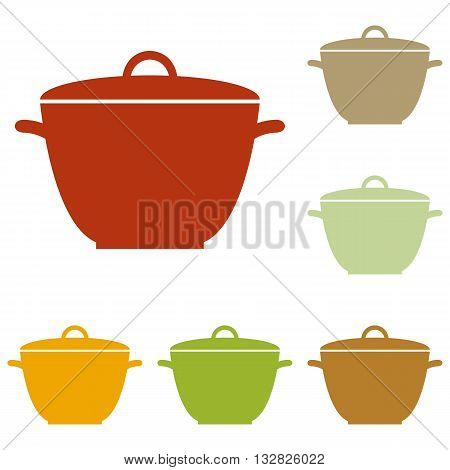 Saucepan simple sign. Colorful autumn set of icons.
