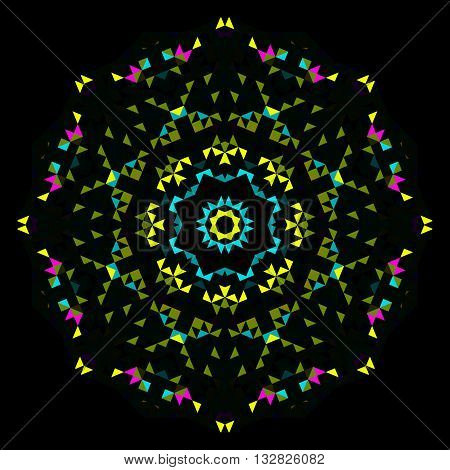 Abstract Geometric Bright Kaleidoscope Pattern. Circle Symmetric Design. Round Flower Ornament