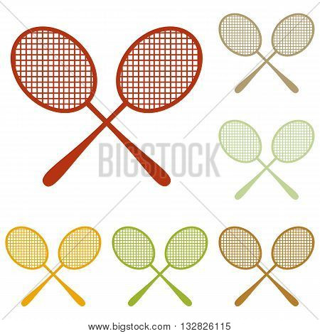 Tennis racquets sign. Colorful autumn set of icons.