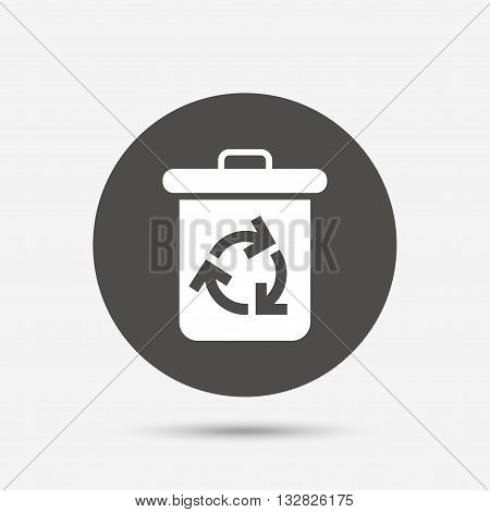 Recycle bin icon. Reuse or reduce symbol. Gray circle button with icon. Vector