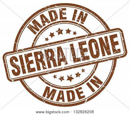 made in Sierra Leone brown round vintage stamp.Sierra Leone stamp.Sierra Leone seal.Sierra Leone tag.Sierra Leone.Sierra Leone sign.Sierra.Leone.Sierra Leone label.stamp.made.in.made in.