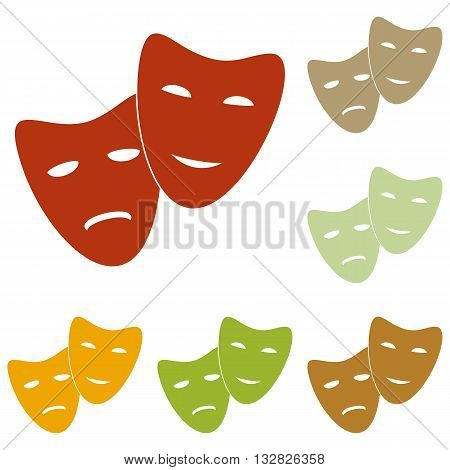 Theater icon with happy and sad masks. Colorful autumn set of icons.