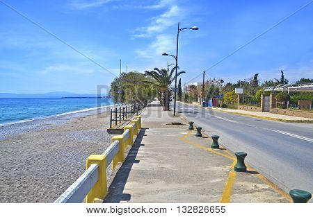 Navarinou road and Verga beach at Kalamata Peloponnese Greece