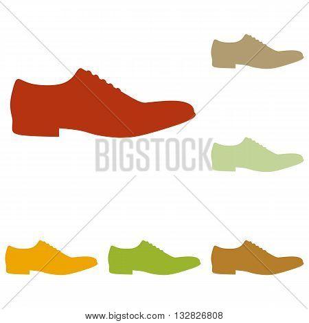 Men Shoes sign. Colorful autumn set of icons.