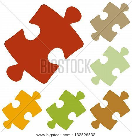 Puzzle piece sign. Colorful autumn set of icons.