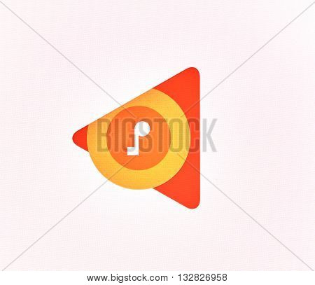 MONTREAL CANADA - MAY 23 2016 : Google Play Music logo on a screen of a cellphone. Google Play Music is a music streaming service and online music locker operated by Google.
