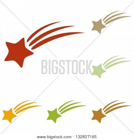 Shooting star sign. Colorful autumn set of icons.