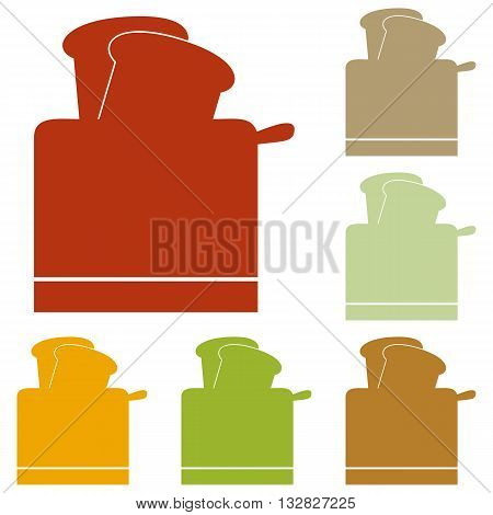Toaster simple sign. Colorful autumn set of icons.