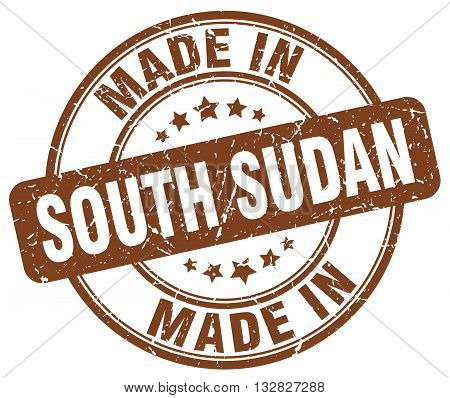 made in South Sudan brown round vintage stamp.South Sudan stamp.South Sudan seal.South Sudan tag.South Sudan.South Sudan sign.South.Sudan.South Sudan label.stamp.made.in.made in.